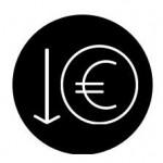 Illustratie van euro in cirkel en een pijl omlaag