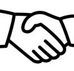 Illustratie van 2 handen die elkaar schudden